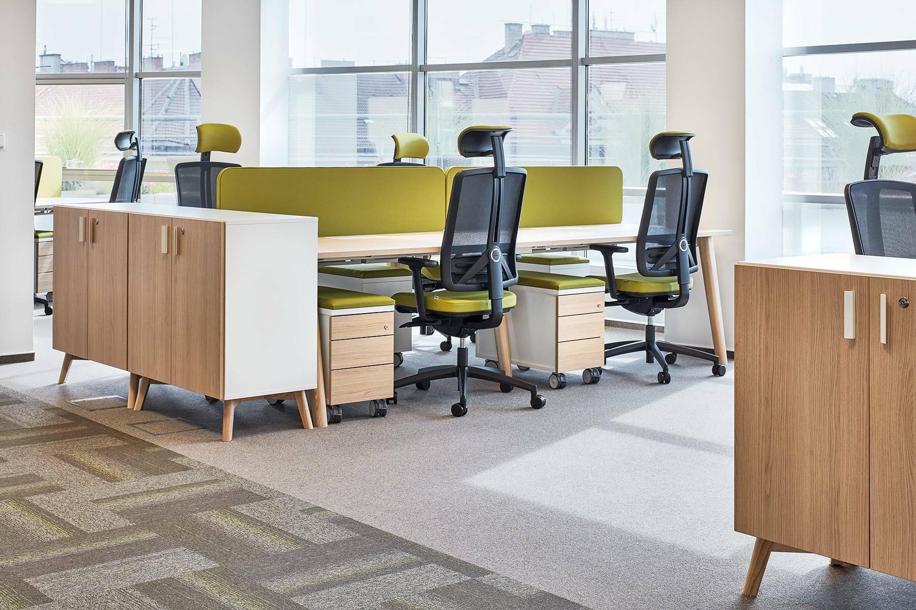 Kancelářský stůl ROOT, čtyřpracoviště 2800x1600mm, dub